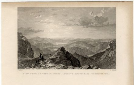 1835 Antique Print LANGDALE PIKES South East ILL BELL Harter Fell LAKE DISTRICT